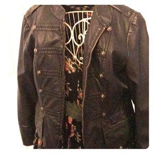 Brand New Black Leather Military Jacket
